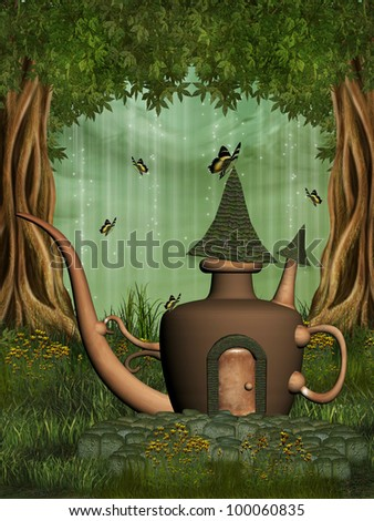 teapot fairy house in the forest with butterfly - stock photo