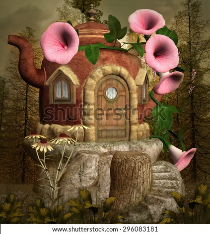 Teapot fantasy house in the forest - stock photo