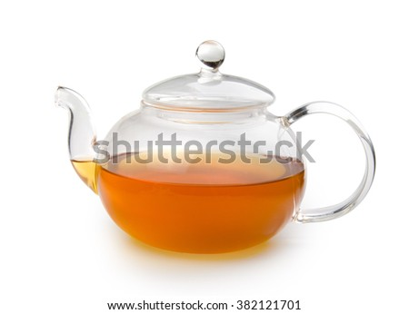 Teapot glass with tea isolated on white background with clipping path. Front view.