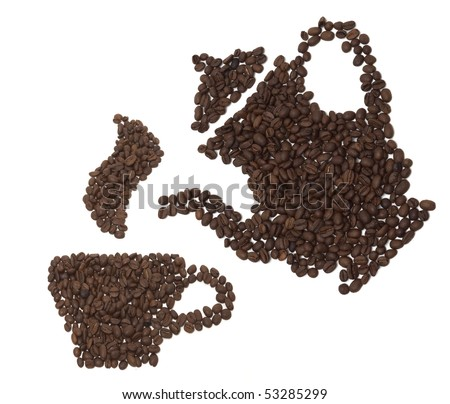 Teapot of coffee beans. for decorate the cafe.