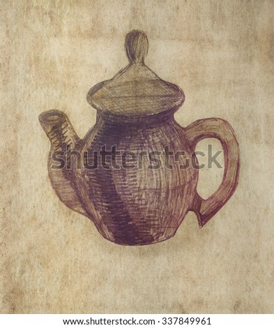 Teapot. Pencil sketch on old paper. Vintage style.  - stock photo