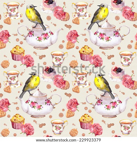 Teapot, teacup, cakes, rose flowers and bird. Repeating tea time pattern. Water color - stock photo