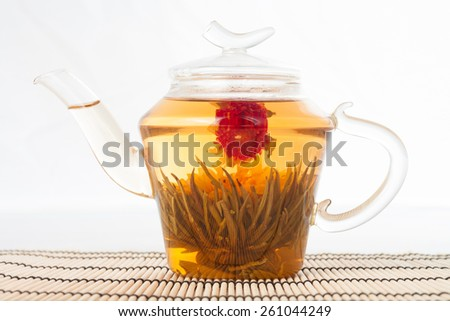 Teapot with green tea isolated on white - stock photo