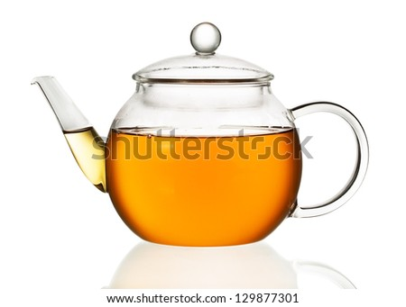 Teapot with tea isolated in white background - stock photo
