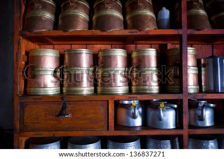 Teapots at a buddhist temple, Shaman Festivals