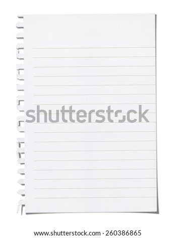 tear note paper from ring binder. Isolated on white with clipping path. - stock photo
