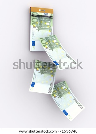 tear-off calendar consisting of euro banknotes - stock photo