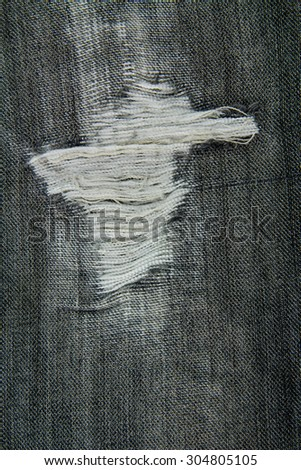 Tear on old jeans. For texture. - stock photo