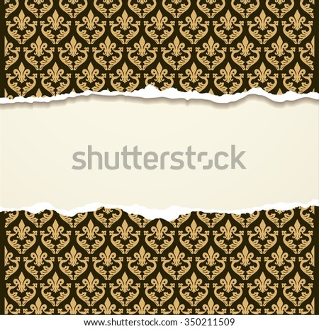 Tear paper on vintage background - stock photo