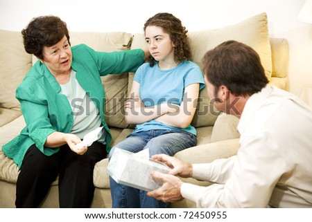 Tearful mother complains to the therapist about problems with her teenage daughter. - stock photo