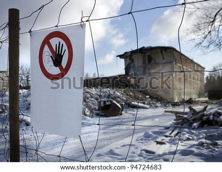 Tearing down an apartment block - stock photo