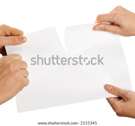 tearing sheet of paper