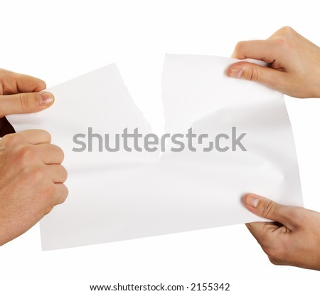 tearing sheet of paper strongly