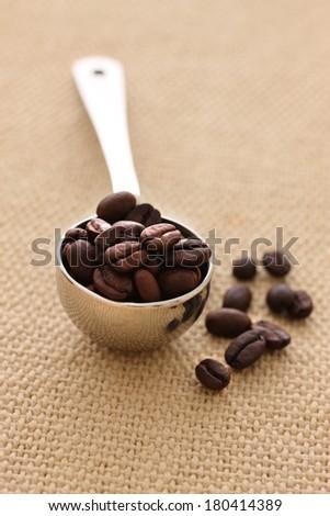 Teaspoon of coffee beans - stock photo