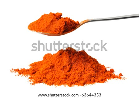 Teaspoon with cayenne pepper isolated on white background