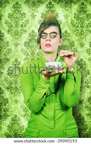 Teatime fifties style, stern lady. - stock photo