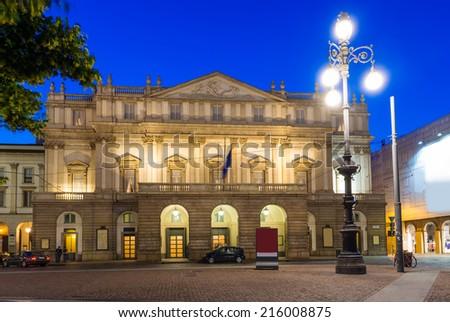 Teatro alla Scala (Theatre La Scala) at night in Milan, Italy - stock photo