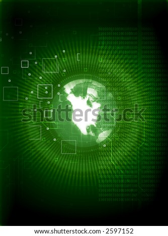 tech background with earthglobe & binary data - stock photo