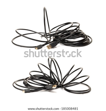 tech cable with plug isolated on a white background  - stock photo