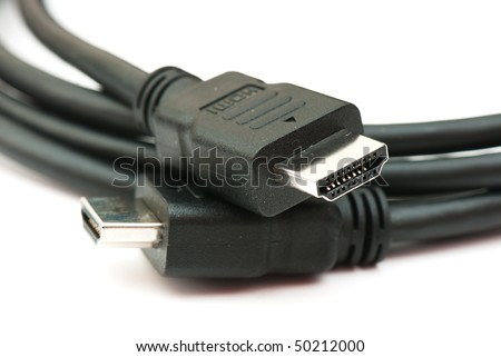 tech cable with plug isolated on a white background. photography studio