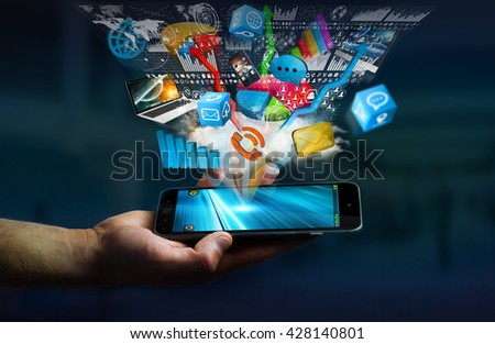 Tech devices and icons applications connected to businessman mobile phone '3D rendering'