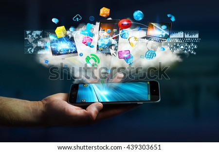 Tech devices and icons applications connected to businessman mobile phone '3D rendering' - stock photo