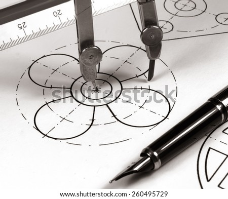 tech draw: drawing a circle monochrome image - stock photo