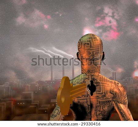 Tech Man stands before smoky city - stock photo