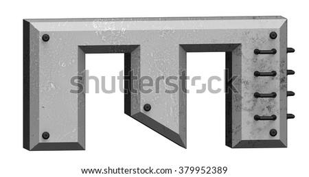 Tech Silver Metal Letter M. - stock photo