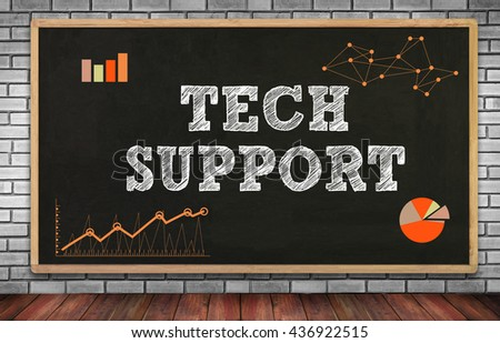 TECH SUPPORT on brick wall and chalkboard background - stock photo