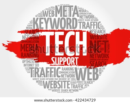 Tech support word cloud, business concept - stock photo