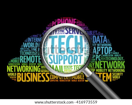 Tech support word cloud with magnifying glass, business concept - stock photo