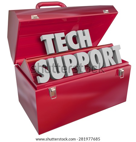 Tech Support words in 3d letters in a red metal toolbox to illustrate an information technology assistance or help role - stock photo