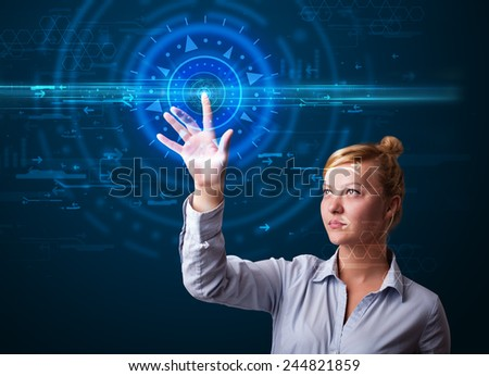 Tech woman pressing high technology control panel screen concept  - stock photo