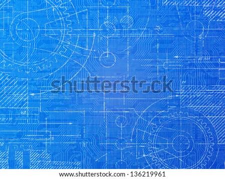 Technical blueprint electronics and mechanical background illustration - stock photo