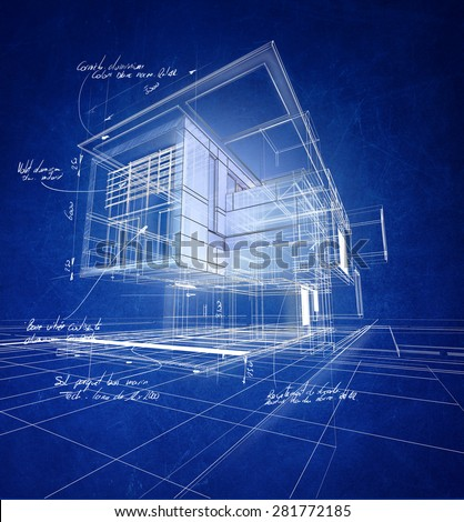 Technical 3D wireframe rendering of a modern villa with scribbled material (aluminum, stone, steel) and technical quotations - stock photo