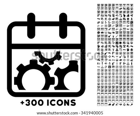 Technical Date glyph icon with additional 300 date and time management pictograms. Style is flat symbols, black color, rounded angles, white background. - stock photo