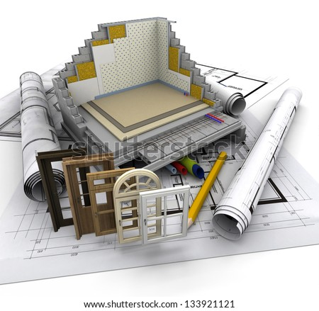 Technical details on home construction - stock photo