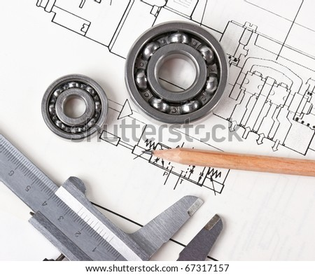 Technical drawing and callipers with  bearing