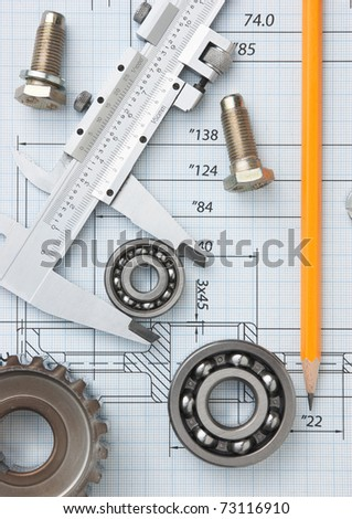 technical drawing and tools - stock photo