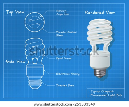 Technical drawing of a small compact fluorescent light bulb. All paths have been converted to shapes. Layer-separated. - stock photo
