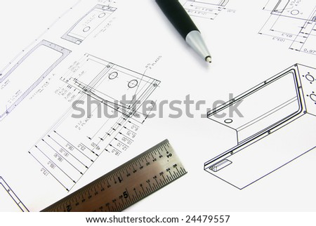 Technical drawing on paper. - stock photo