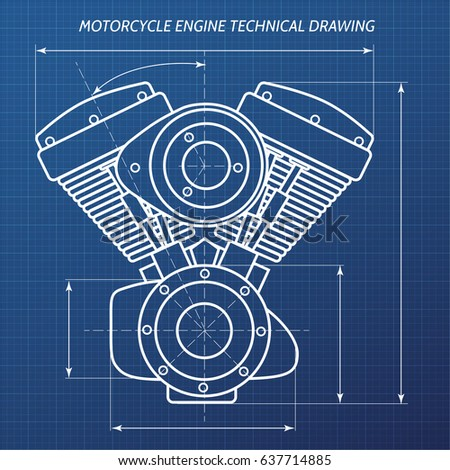 Stock Photo Technical Drawings Of Motorcycle Engine Motor Engineering Concept on V8 Engine Cartoon Drawing