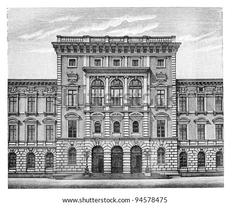 Technical high school in Munich (Germany) - Vintage illustration / illustration from Meyers Konversations-Lexikon 1897 - stock photo