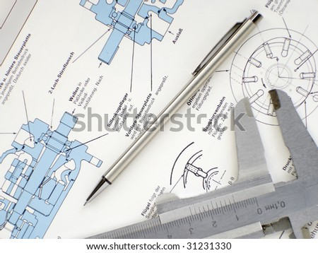 Technical industrial drawings - stock photo