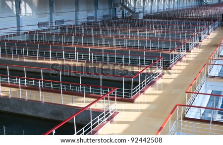 Technical pool for water treating - stock photo