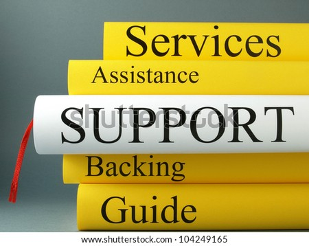 Technical support and customer support (book titles)  - stock photo