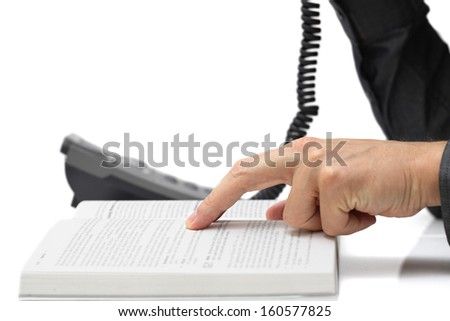 technical support concept with Technician on phone - stock photo