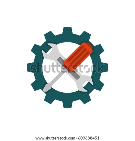 Technical support flat icon. Repair icon flat