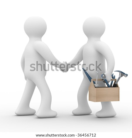 Technical support. On line service. Isolated 3D image - stock photo